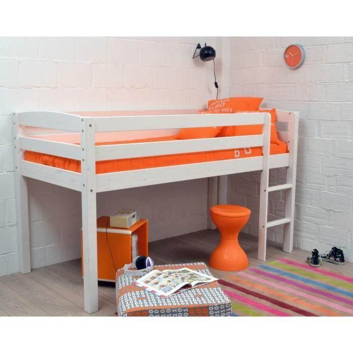 lit sur lev enfant 90x190 cm laqu blanc james moncornerdeco. Black Bedroom Furniture Sets. Home Design Ideas