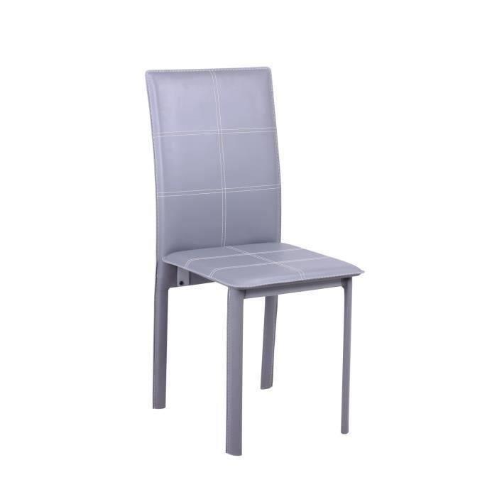 Lot de 4 chaises de salle a manger grises ruby meubles for Lot 4 chaises salle manger