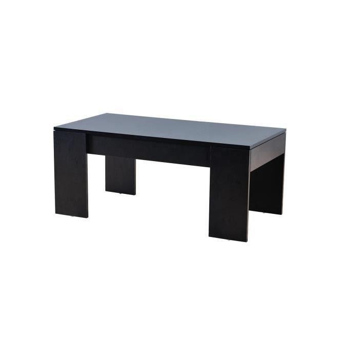 Open table basse plateau relevable noir salon salle for Table basse relevable noir