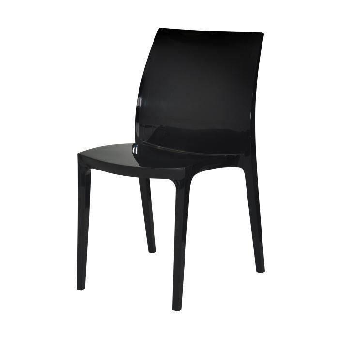 Lot de 2 chaises sento noires en polypropylene salon - Lot de chaises noires ...