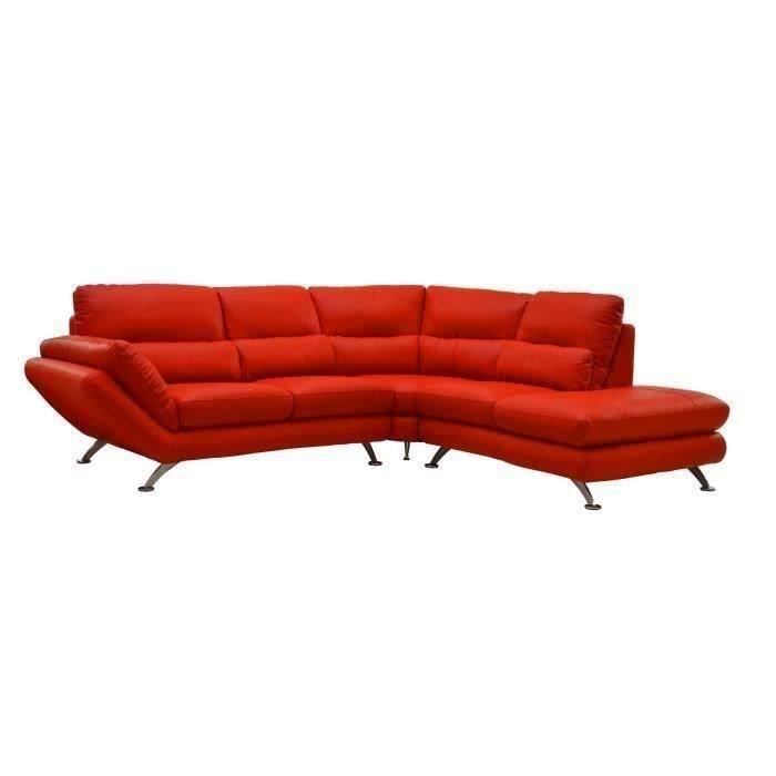 Canap d 39 angle en cuir et pvc rouge d delicious salon for Canape salle a manger