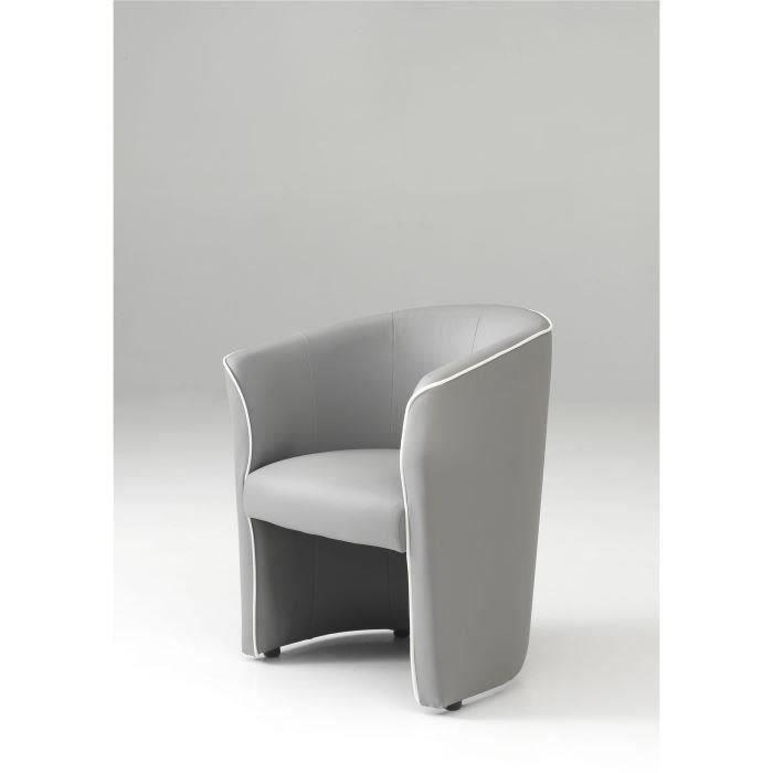 fauteuil cabriolet gris passepoil blanc baya moncornerdeco. Black Bedroom Furniture Sets. Home Design Ideas