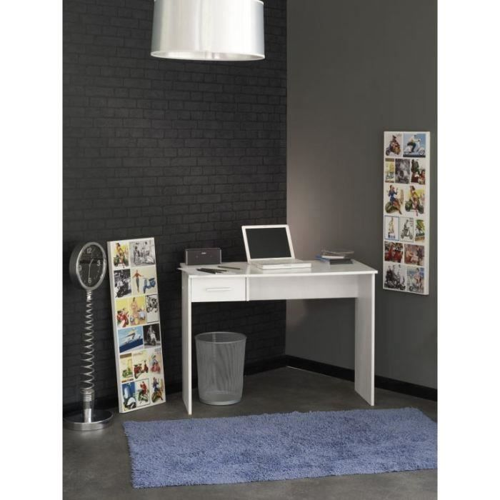 Bureau 100x50cm 1 tiroir blanc meubles bon prix for Bureau 50 cm
