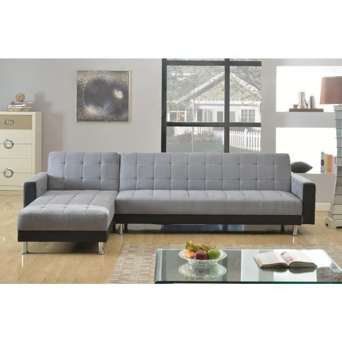 luxury canap d 39 angle r versible convertible en simili et tissu 4 places 300x165x82 cm noir. Black Bedroom Furniture Sets. Home Design Ideas