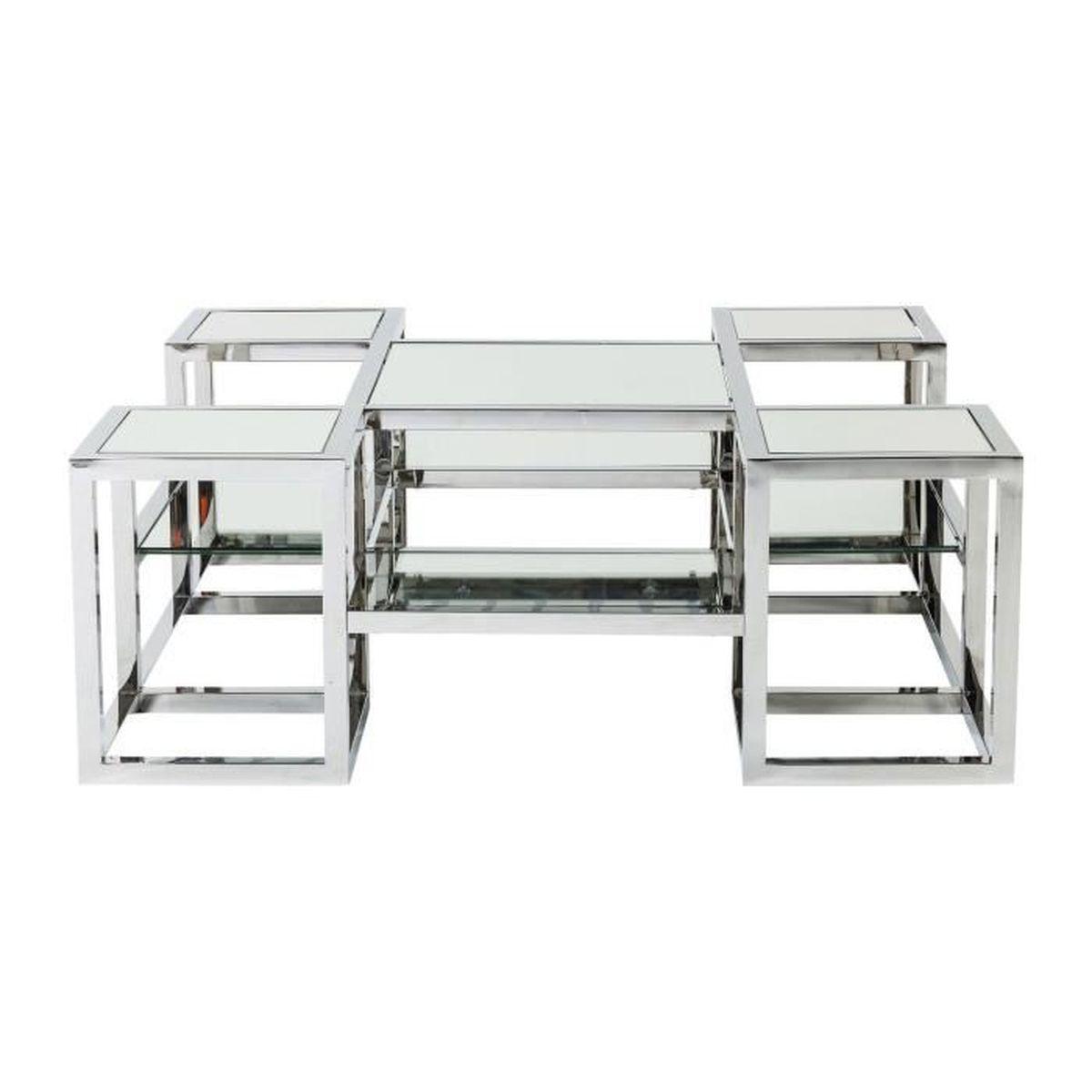 Table basse steps miroir 100x100 cm kare design achat for Miroir 100x100