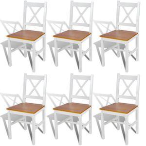 Chaises de cuisine blanc achat vente chaises de for Chaise salle a manger bois blanc