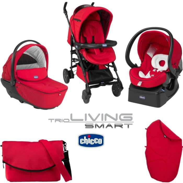 chicco trio living smart red red achat vente poussette chicco trio living smart red cdiscount. Black Bedroom Furniture Sets. Home Design Ideas