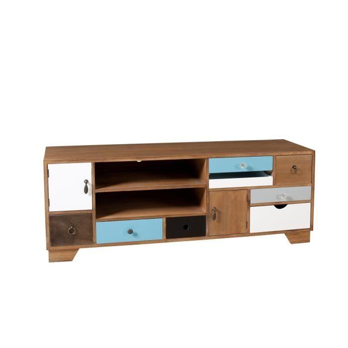 Milan meuble tv multi rangements 122 cm color achat vente meuble tv milan meuble tv placage - Meuble colore ...