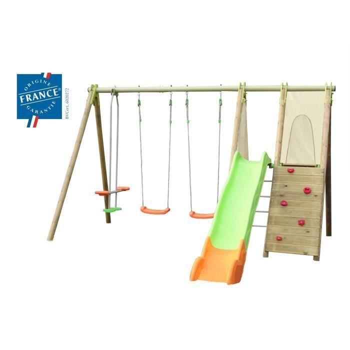 portique bois m tal 2 30 m 3 agr s 2 pf achat vente balancoire station jeux portique. Black Bedroom Furniture Sets. Home Design Ideas