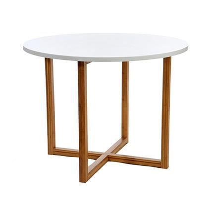 Table ronde en bois naturel blanc achat vente table a for Table a manger ronde bois