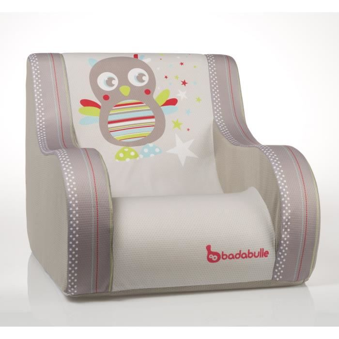badabulle fauteuil club hibou taupe et multicolore achat vente fauteuil canap b b. Black Bedroom Furniture Sets. Home Design Ideas