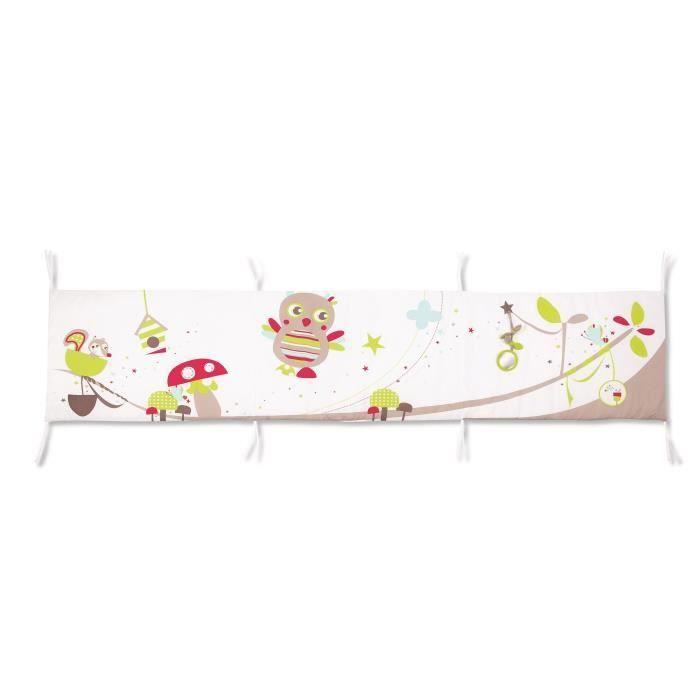badabulle tour de lit r versible hibou blanc et multicolore achat vente tour de lit b b. Black Bedroom Furniture Sets. Home Design Ideas