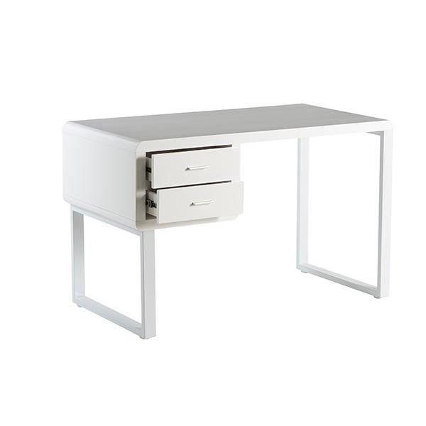 Buro bureau contemporain en m tal poxy et mdf laqu blanc brillant l 120 cm achat vente - Panneau mdf laque blanc brillant ...