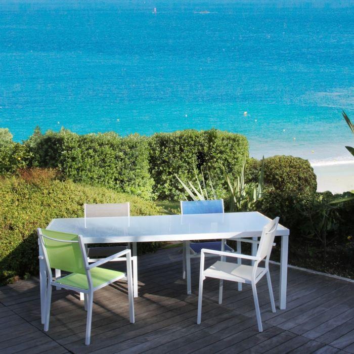 Table Alu 160x90x74 Cm Avec Plateau Verre Blanc Achat Vente Salon De Jardin Table Alu