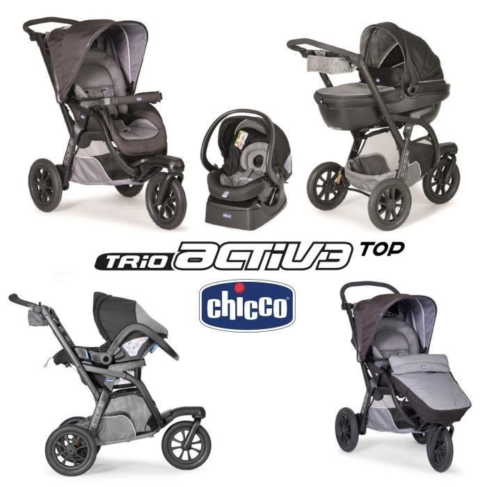 chicco poussette combin e trio activ3 top grey 3 roues. Black Bedroom Furniture Sets. Home Design Ideas