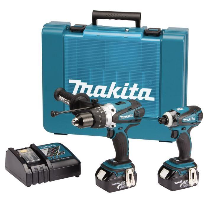 Makita coffret 2 machines 2x18v 3ah li ion achat vente - Coffret visseuse makita 18v 3ah ...