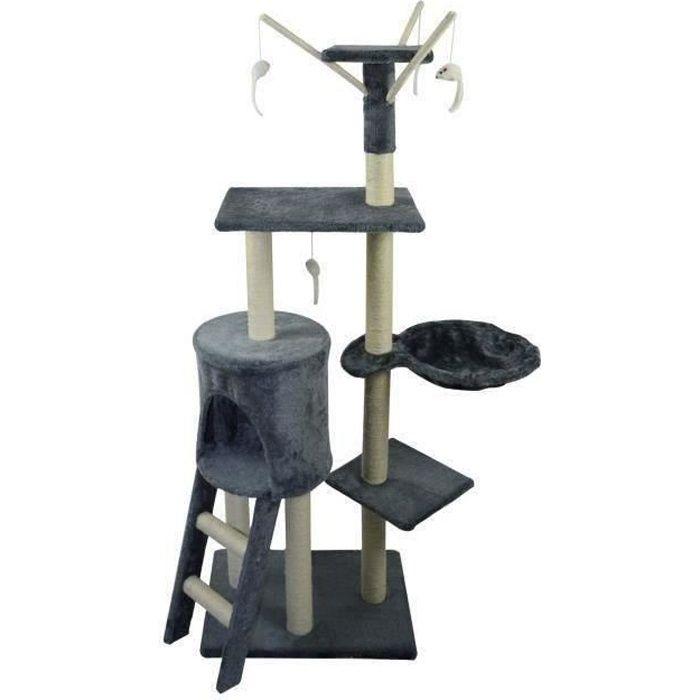 poils plumes arbre chat le magique 50x35x138 cm gris achat vente arbre chat arbre. Black Bedroom Furniture Sets. Home Design Ideas