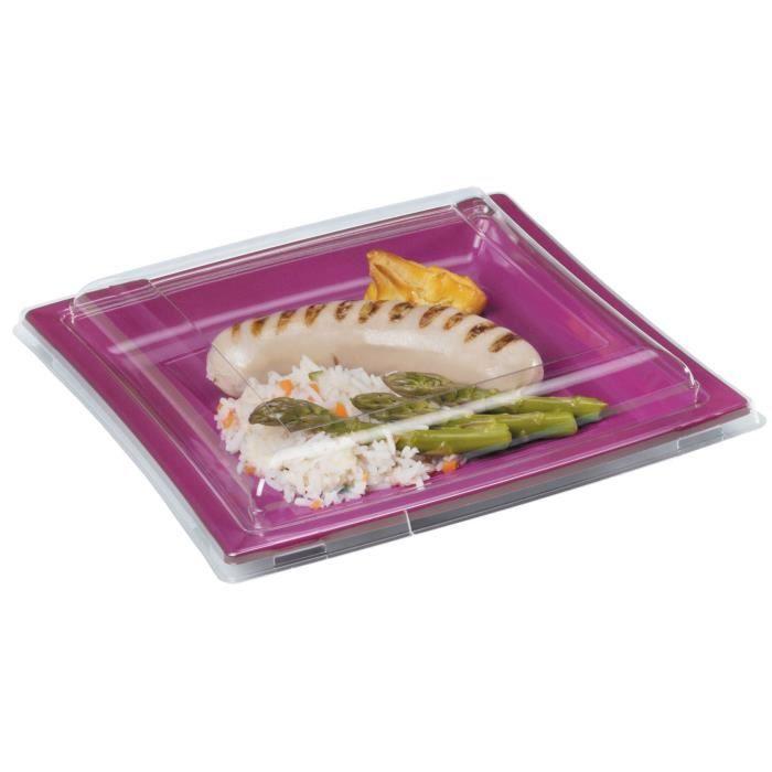 Couvercle assiette carree plastique 25 unites diametre - Nappe cuisine plastique ...