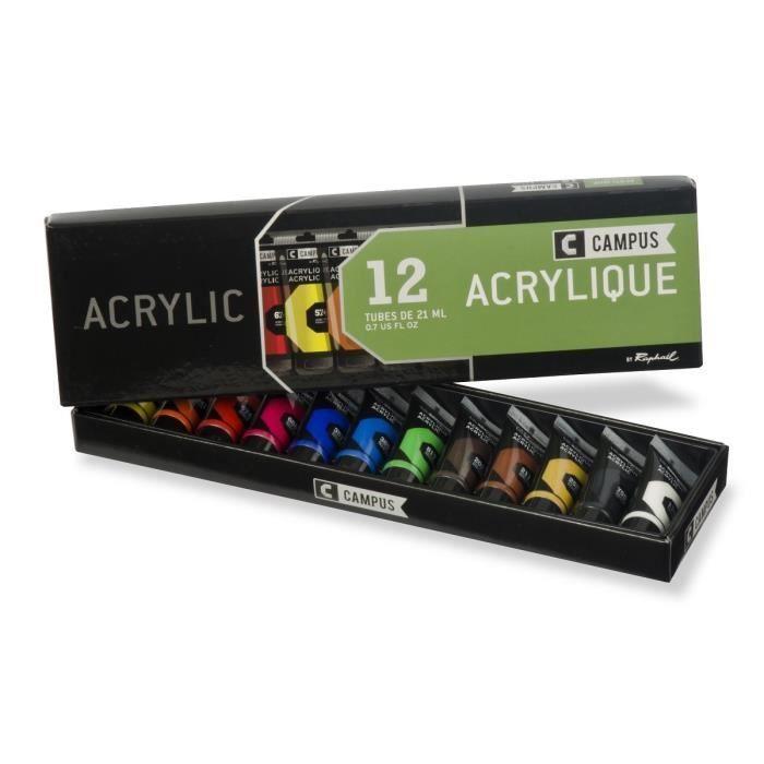 campus coffret acrylique 12 tubes 21 ml achat vente peinture acrylique campus 12 tubes. Black Bedroom Furniture Sets. Home Design Ideas