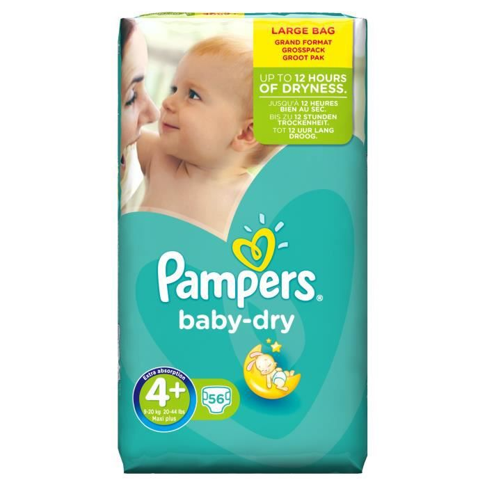 pampers baby dry taille 4 9 20kg 56 couches vert. Black Bedroom Furniture Sets. Home Design Ideas