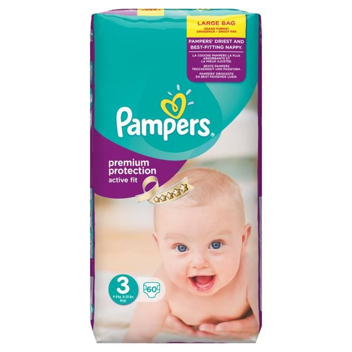 pampers active fit taille 3 4 9 kg 60 couches. Black Bedroom Furniture Sets. Home Design Ideas