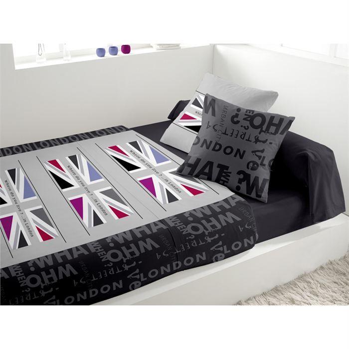 parure de lit flag pop gris achat vente parure de lit. Black Bedroom Furniture Sets. Home Design Ideas
