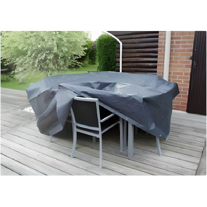 housse de protection 205 x h 90 cm pour salon de jardin. Black Bedroom Furniture Sets. Home Design Ideas