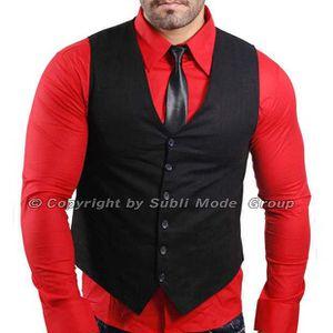 gilet chemise cravate homme noir rouge noir achat vente costume tailleur cdiscount. Black Bedroom Furniture Sets. Home Design Ideas