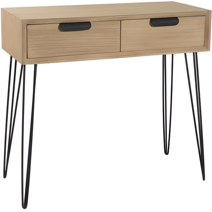 bayonne console scandinave en mdf et placage paulownia. Black Bedroom Furniture Sets. Home Design Ideas