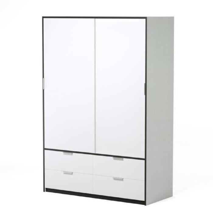 capri armoire de chambre 140 cm blanc mat et noir. Black Bedroom Furniture Sets. Home Design Ideas