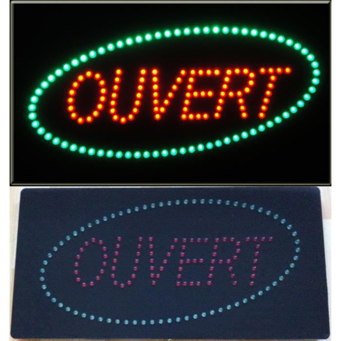 enseigne lumineuse led ouvert rouge vert achat vente enseigne lumineuse led. Black Bedroom Furniture Sets. Home Design Ideas