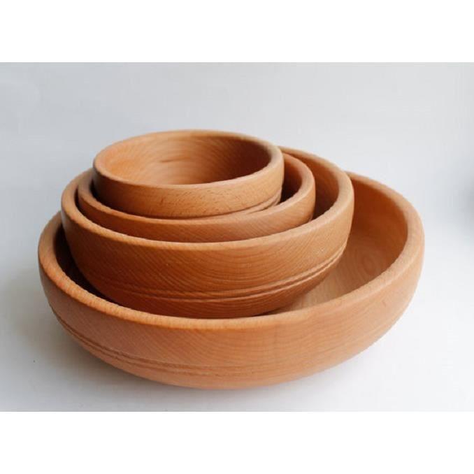 Vaisselle en bois bol en bois assiette en bois set for Vaisselle de table pas cher