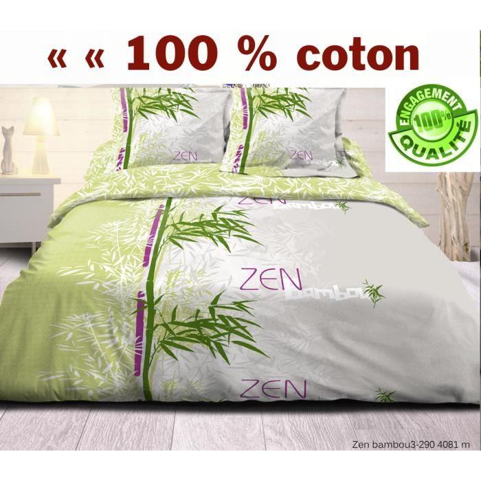 Housse de couette zen bambou taies 100 coton 57 fil for Housse de couette bambou