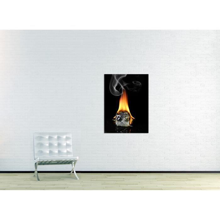 bilderdepot24 tableau toile sur ch ssis en bois glacon enflamm 90x120 achat vente tableau. Black Bedroom Furniture Sets. Home Design Ideas