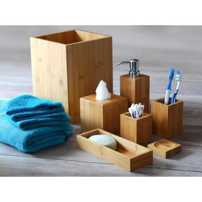 accessoires salle de bain bambou achat vente accessoires salle de bain bambou pas cher les. Black Bedroom Furniture Sets. Home Design Ideas