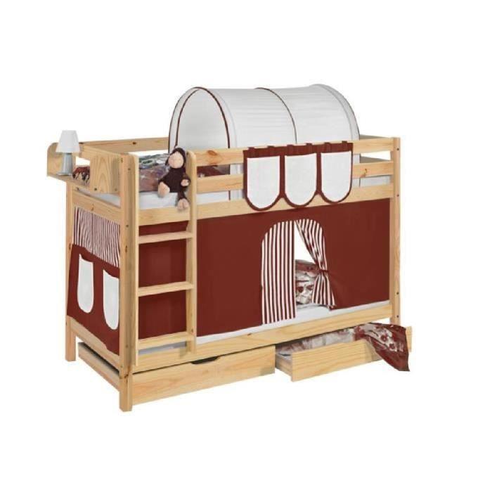 Lits superpos s jelle marron beige s avec rideaux et deux sommier lattes - Rideau pour lit superpose ...