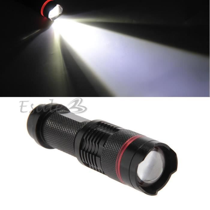 600lm cree q5 led le poche torche blanc 3 modes zoomable cing hiking prix pas cher