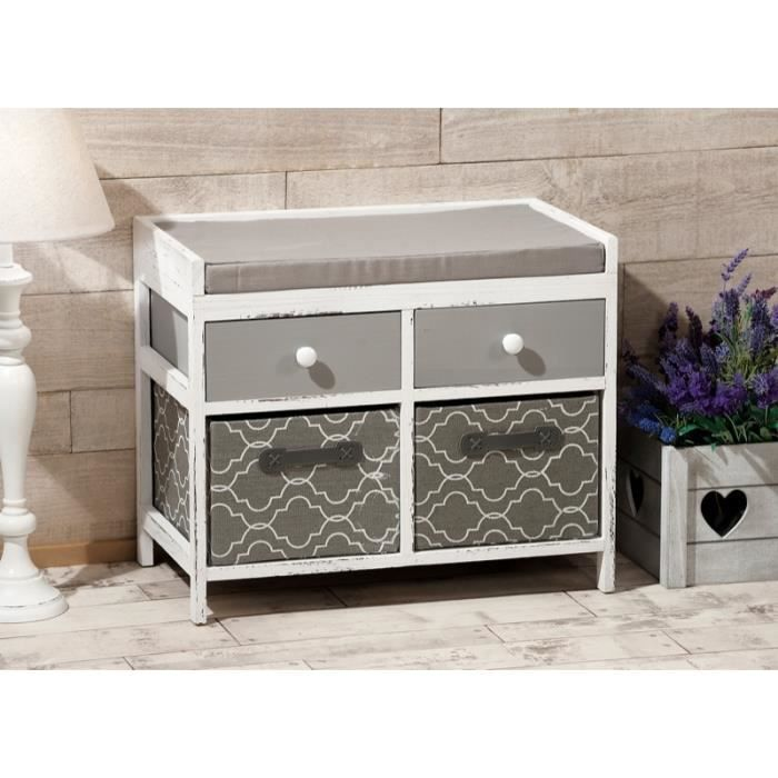 banc avec rangements 60 x 34 cm meuble de rangement. Black Bedroom Furniture Sets. Home Design Ideas