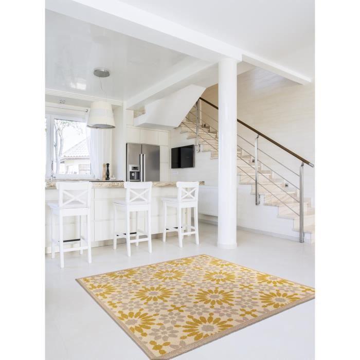 benuta tapis gazania jaune 150x150 cm achat vente tapis cdiscount. Black Bedroom Furniture Sets. Home Design Ideas