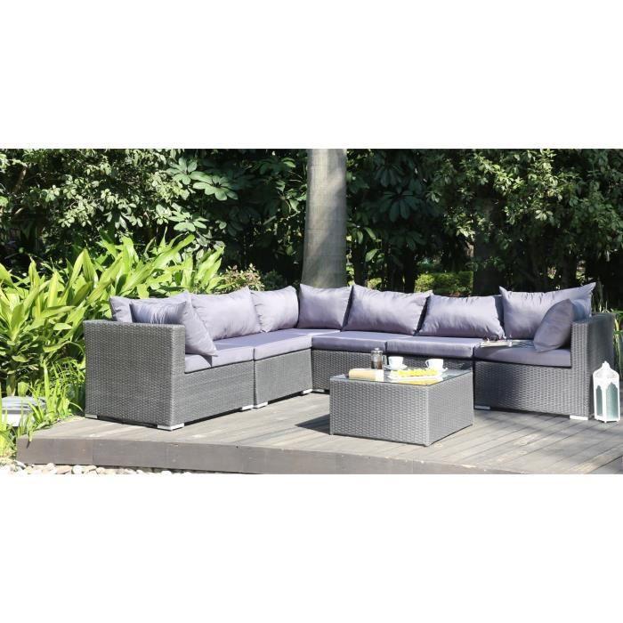 finlandek hilpea salon de jardin 7 pi ces r sine tress e gris fonc achat vente salon de. Black Bedroom Furniture Sets. Home Design Ideas
