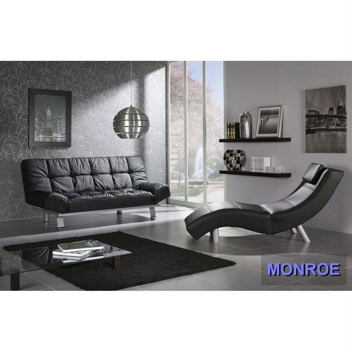 canape design 2 places revetement pu noir marilyn achat. Black Bedroom Furniture Sets. Home Design Ideas
