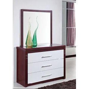 Commode et miroir blanc et bois collection biana achat for Miroir des modes 427