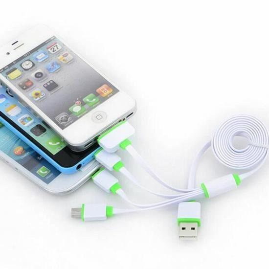 exlene 4 en 1 usb c ble chargeur multifonctionnel pour iphone 4 4s 5 5s 5c 6 android achat. Black Bedroom Furniture Sets. Home Design Ideas
