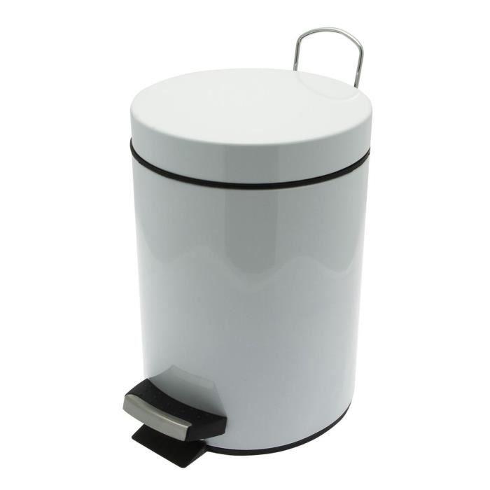 Poubelle 3l m tal blanc achat vente sac poubelle - Poubelle cuisine pedale 50l ...