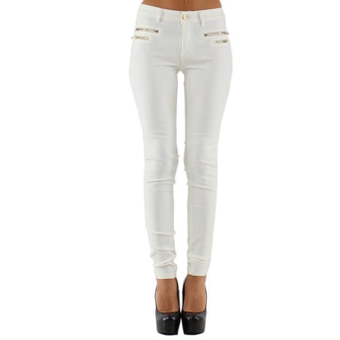 jean femme blanc enduit blanc achat vente jeans. Black Bedroom Furniture Sets. Home Design Ideas