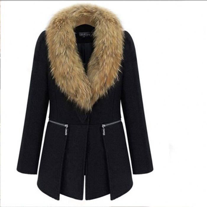 manteaux femme fourrure col