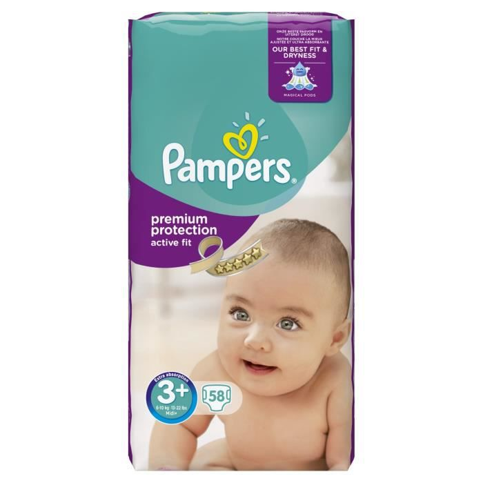 pampers active fit taille 3 6 10 kg 58 couches vert. Black Bedroom Furniture Sets. Home Design Ideas