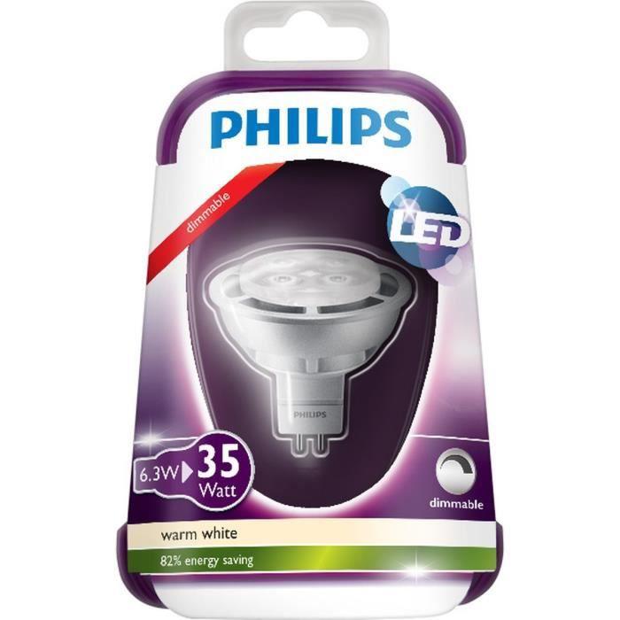 philips ampoule spot led gu5 3 6 3w quivalence 35w achat vente ampoule led cdiscount. Black Bedroom Furniture Sets. Home Design Ideas