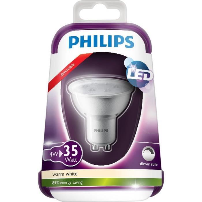 Philips ampoule spot led gu10 4w quivalence 35w achat - Spot exterieur philips ...