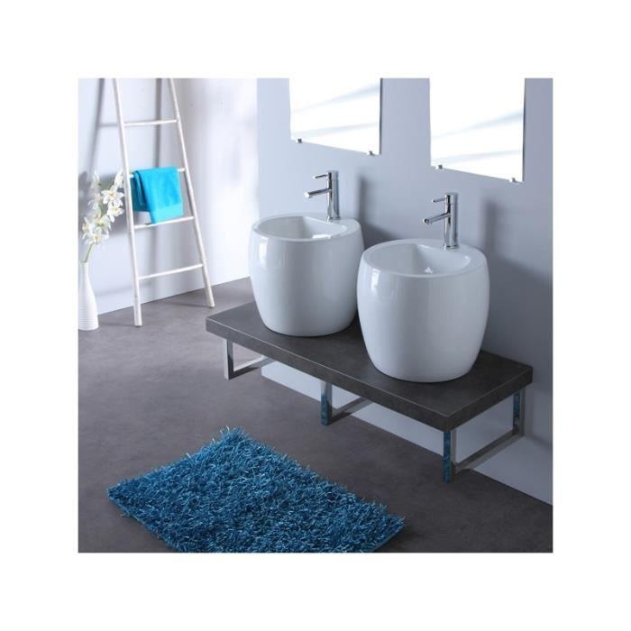 Meuble de salle bain gris avec double vasques b achat - Salle de bain grise et bois ...